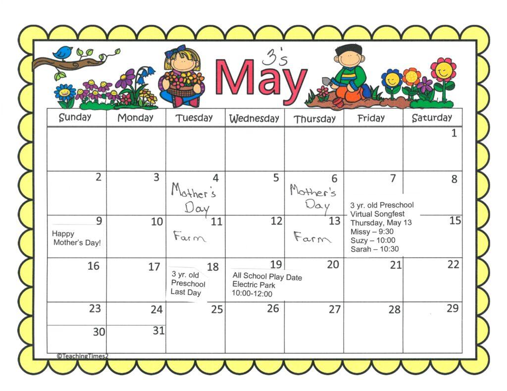 3's May 2021 Calendar