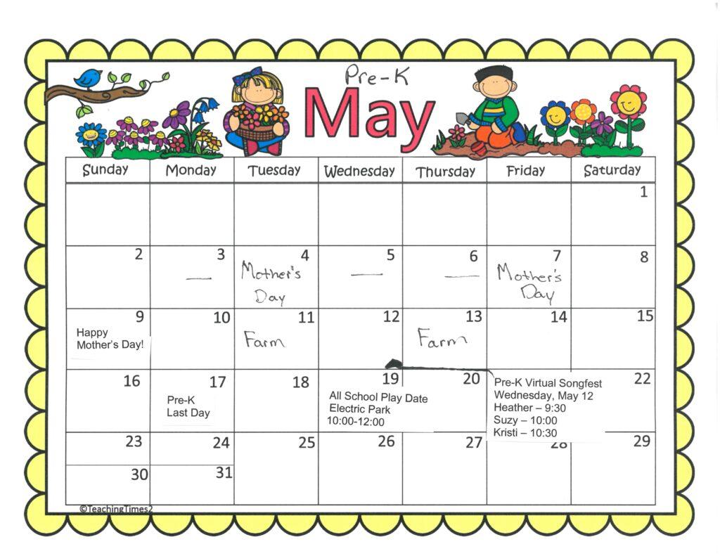 Pre-K May 2021 Calendar